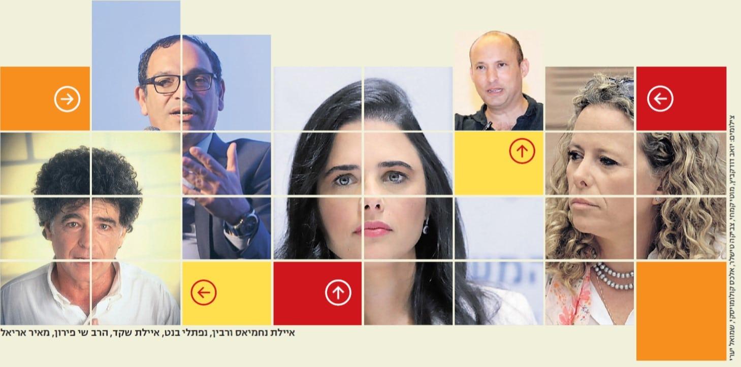 כיתוב תמונה: איילת נחמיאס-ורבין, נפתלי בנט, הרב שי פירון, מאיר אריאל.
