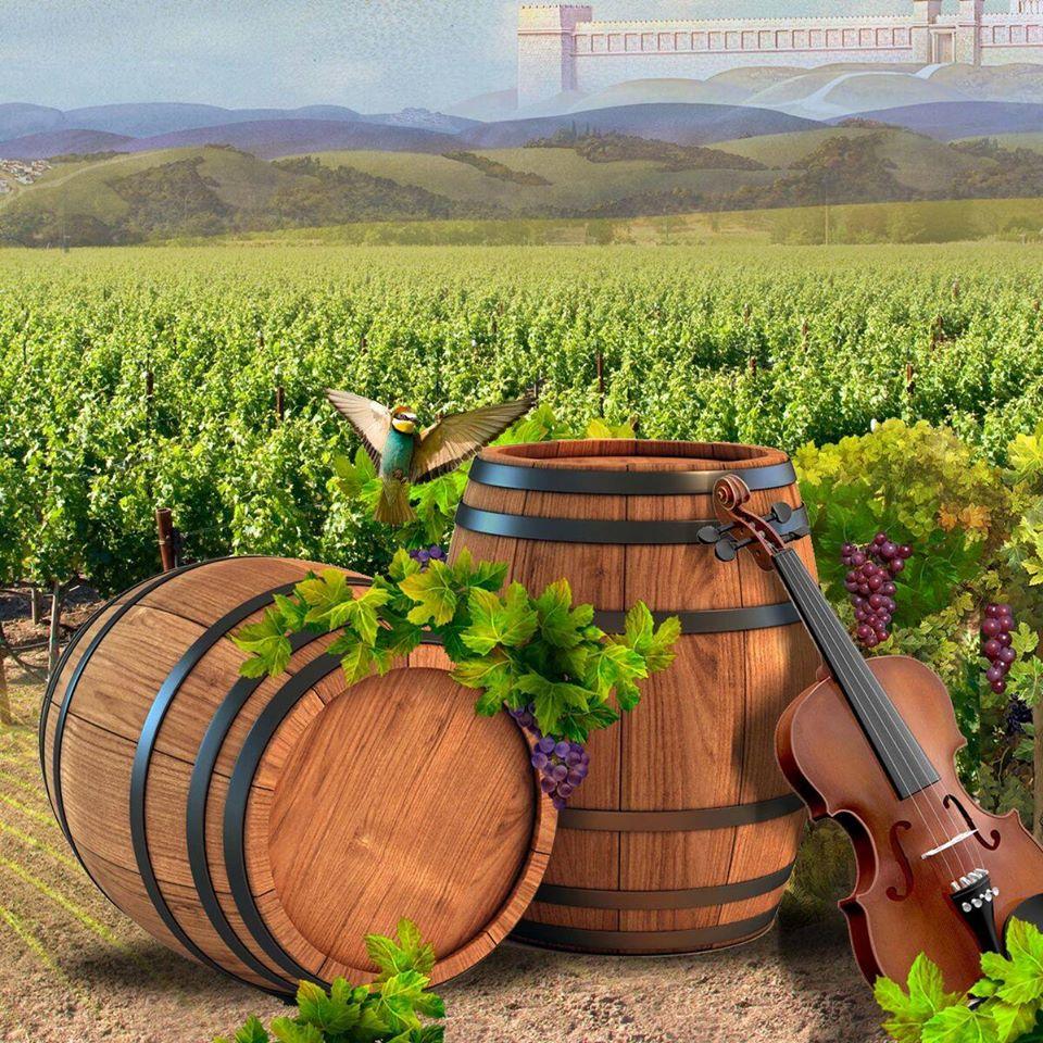 ציור של חביות יין וכינור על רקע שדה והרי ארץ ישראל