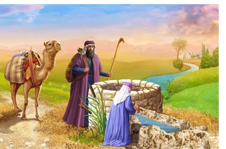 ציור של רבקה שואבת מים ואליעזר והגמל עומדים לידה