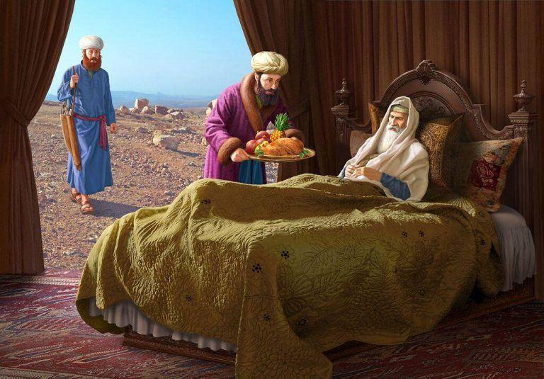 יעקב מביא מנחה לאביו יצחק שמברך אותו ועשיו עומד מרחוק