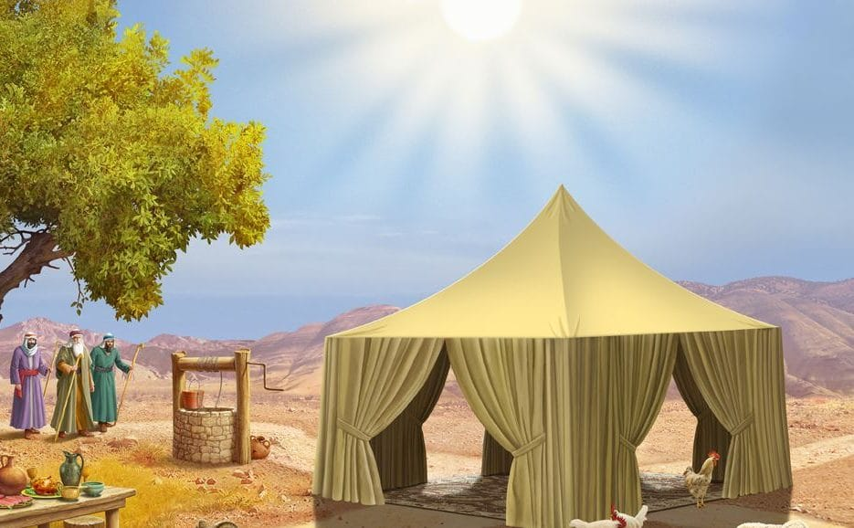 שלושה אנשים מתקרבים לפתח האוהל