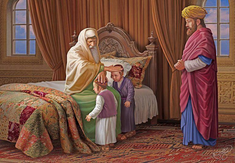 ציור של יעקב אבינו מברך את אפרים ומנשה