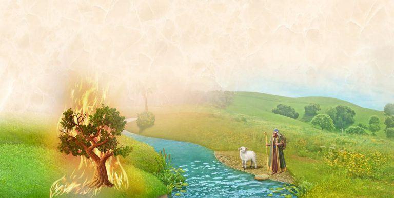 ציור של משה והסנה בוער