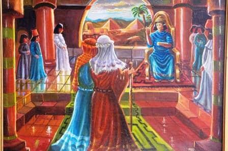 ציור שח משה ואהרון מול פרעה
