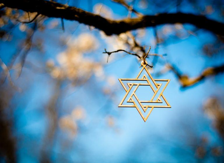 מגן דוד תלוי על עץ